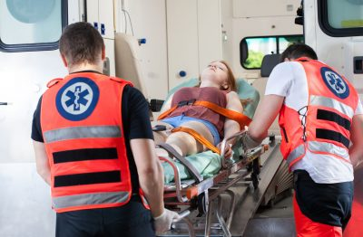 30973073 - woman after accident in ambulance, horizontal